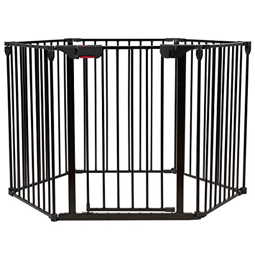 Costzon Baby Safety Gate, 6-Panel Fireplace Fence, Foldable Baby Play Yard for Easy with Add/Decrease Panels, Portable Wide Barrier Gate with Multiple Shapes for Child & Pet (Black, 6-Panel)