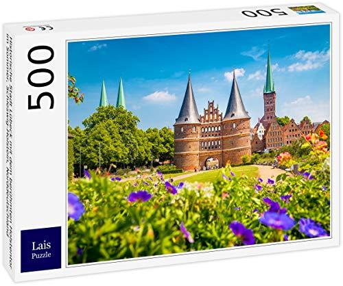 Lais Puzzle Historisk stad Lübeck med den berömda Holstentorn på sommaren, Schleswig-Holstein, norra Tyskland 500 delar