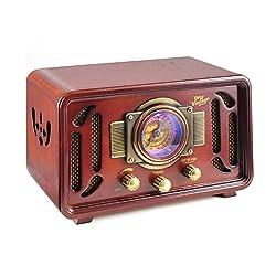 Pyle PUNP34BT Vintage Bluetooth Radio Sound System with USB/SD Readers and AM/FM Radio (Brown),Pyle,PUNP34BT