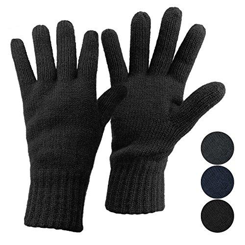 ALPIDEX Thermo Strickhandschuhe Thinsulate Handschuhe Damen Herren Warme Winter Handschuhe, Größe:L, Farbe:Black