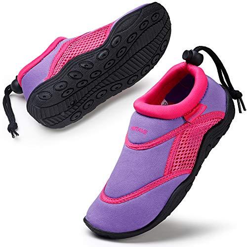 HKR Mädchen Wasserschuhe Leicht Aquaschuhe Strandschuhe Schwimmschuhe Kinder Lilac/Pink 29 EU