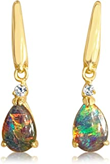 Australian Opal Triplet Silver earrings dangling pearshape