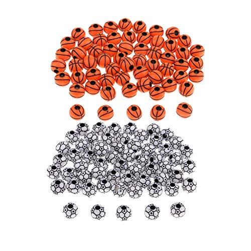 IPOTCH 120x Fußball und Basketball Perlen zum auffädeln, Bastelperlen Schmuckperlen zum basteln Perlen mit Loch