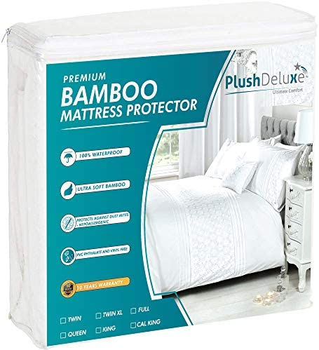 PlushDeluxe Premium Bamboo Mattress Protector Waterproof Hypoallergenic Ultra Soft Breathable product image