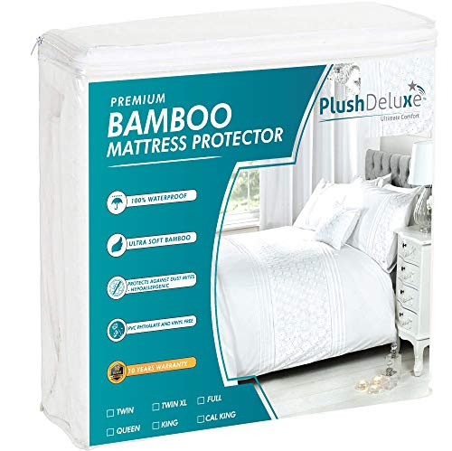 PlushDeluxe Premium Bamboo Mattress Protector – Waterproof, Hypoallergenic & Ultra Soft Breathable Bed Mattress Cover for Maximum Comfort & Protection - PVC, Phthalate (Queen Size)