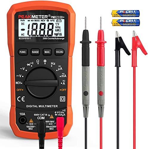 Multímetro digital PEAKMETER 8233D + 2000Counts Multímetro digital de rango automático CA CC Voltaje de corriente Resistencia Capacitancia Probador de frecuencia NCV Multímetro digital portátil