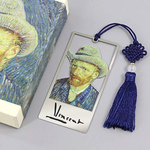 1 segnalibro creativo con nappe letterarie, confezione regalo, segnalibro-Van Gogh Metal Art Bookmark + confezione regalo