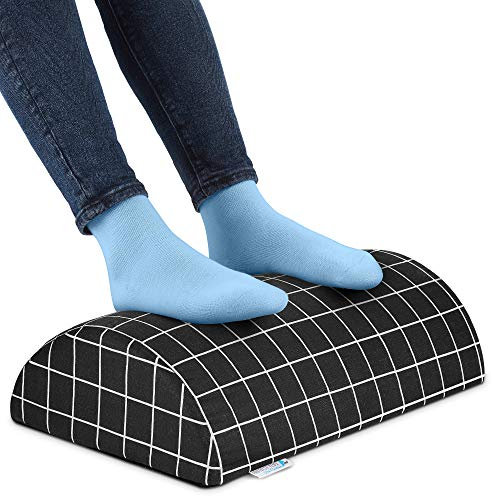 Under Desk Ergonomic Footrest Plus (Tall) – Foam Foot Rest for Circulation and Comfort with Hook and Loop-Fasten Fabric – Office Essentials Footstool for Men and Women by Dr.Cushions, 5x11x17.5 in.