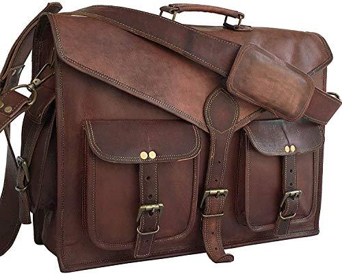 15 Inch Vintage Handmade Leather Messenger Bag for Laptop Briefcase Best Computer Satchel School Distressed Bag