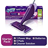 Swiffer WetJet Spray Mop Cleaner Starter Kit, Includes: 1 Power Mop, 5 Pads, Cleaner Solution, Batteries