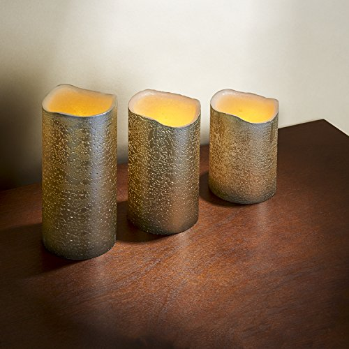 3 Distressed Gold Flameless Candles with Warm White LEDs, Wax, Batteries & Remote Included