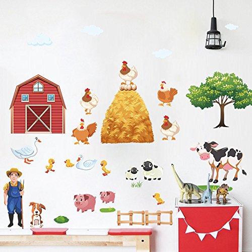 Pegatina pared diseña tu granja vinilo ideal dormitorio guarderias pelus niñ@s cuartos de juegos, mamparas, puertas armarios. regalo. de CHIPYHOME