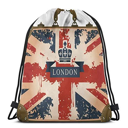 Odelia Palmer Bolsas de Mochilas con cordón Impresas, Maleta de Viaje Vintage con Cinta de Londres con Bandera británica e Imagen de Corona, Cierre de Cuerda Ajustable