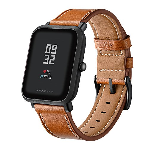 Kartice Compatible with Bip Band, Bip Bands Leather Strap Replacement Buckle Strap Wrist Band for Bip Smartwatch (Brown)