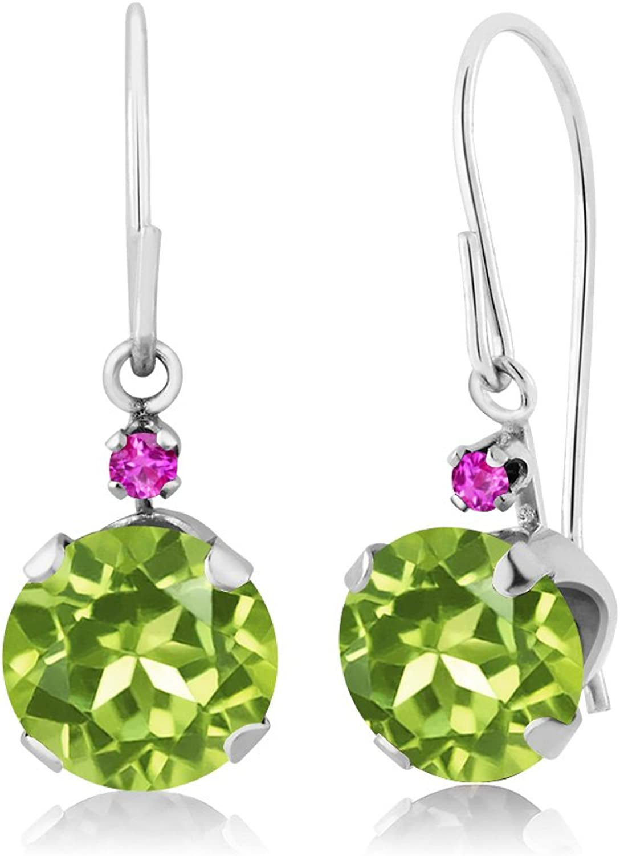 1.84 Ct Round Green Peridot Pink Sapphire 14K White gold Earrings