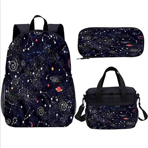 Constellation Teens Backpack Set,Star Cluster Galaxies School Backpacks for Kids Adults