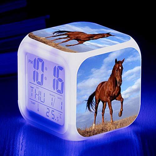 HUA5D Despertador Digital Caballo Infantil Regalos De Cumpleaños Wake Up Light Alarm Clocks Niño & Niña Dormitorio Decorar-Niños 7 Color Cambiante Luz Nocturna Lampara De Cabecer(B3)