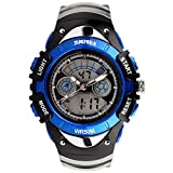 SKMEI Boys Blue Digital Watch 30m Water Resistant Dual Display Stopwatch Alarm Ages 5-13