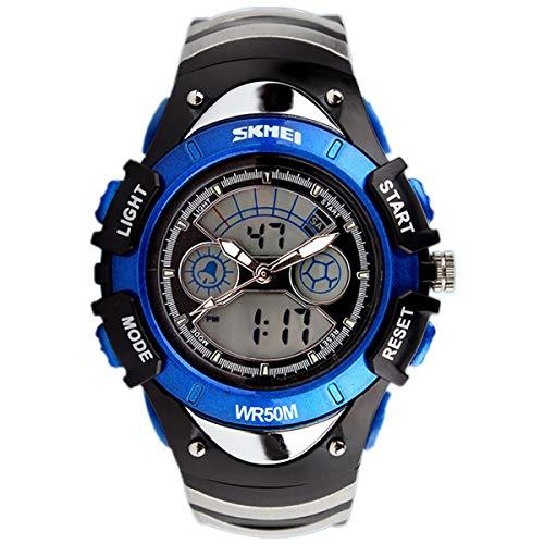 SKMEI Boys Blue Digital Watch 30m Water Resistant Dual Display Stopwatch...