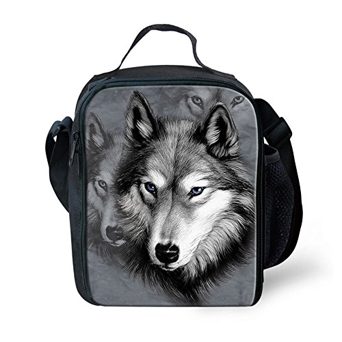 HUGSIDEA Cool Wolf Pet Dog Husky Print Lunch Bags by HUGSIDEA