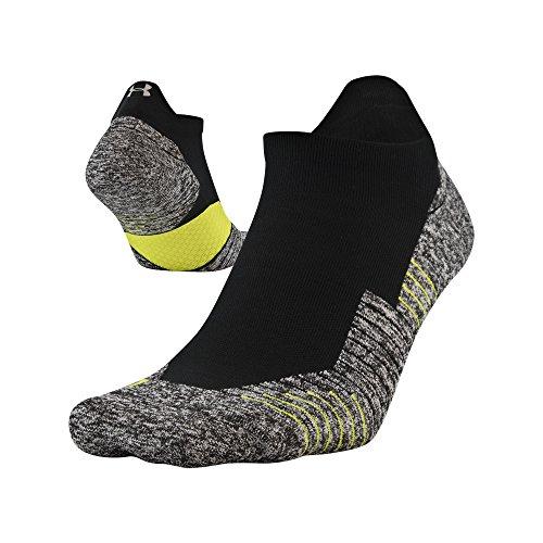 Under Armour Run Cushion No Show Tab Socks, 1-Pair, Black, Shoe Size: Mens 4-8, Womens 6-9