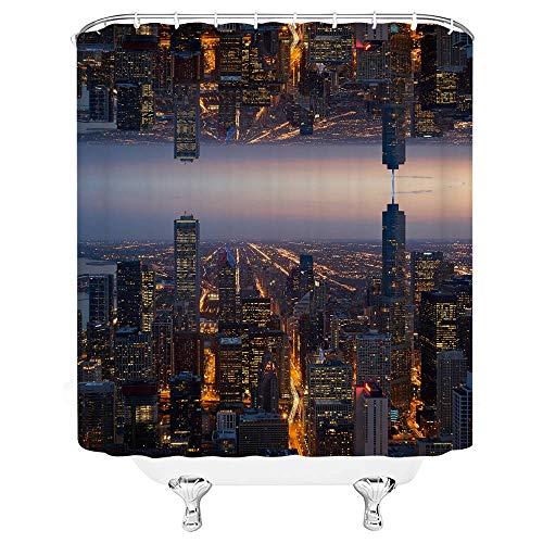 kuanmais Duschvorhänge Formbeständig Nacht Stadt Duschvorhang Wasserdicht Extra Lange Bad Vorhang Für Badezimmer 180x180cm