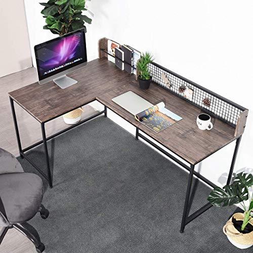 GreenForest L Shaped Corner Desk, 65″ x 43″ Industrial Style Large Desktop Computer Gaming Desk for Home Office, Walnut