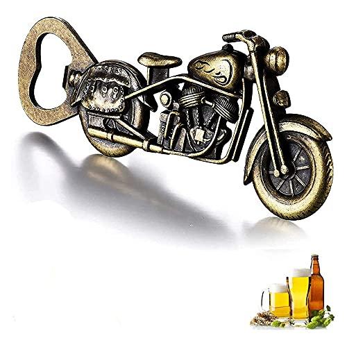 BESSIKON Abridor de botellas de aleación de cinc para motocicleta, vintage, bronce, para bar, fiesta, playa, sacacorchos, regalo