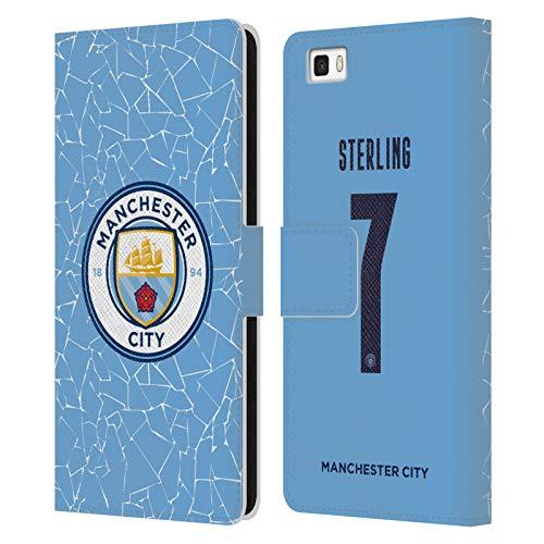 Head Case Designs Licenciado Oficialmente Manchester City Man City FC Raheem Sterling 2020/21 Jugadores Inicio Kit Grupo 1 Carcasa de Cuero Tipo Libro Compatible con Huawei P8lite / ALE-L21