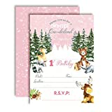 Woodland Winter Wonderland One-derland First Birthday Party Invitations for Girls, 20 5'x7' Fill in Cards with Twenty White Envelopes by AmandaCreation