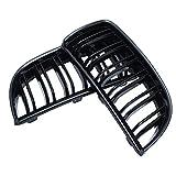 AVANI EXCHANGE Pair Gloss Black Double Slat Sport Kidney Grille Grill Set For BMW E90 E91 05-08