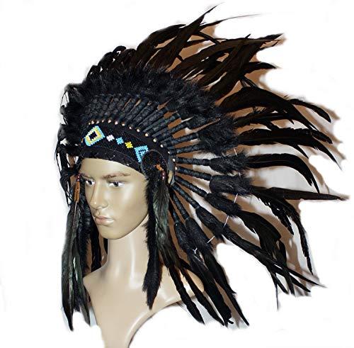 Hejoka-Shop NEU Indianer Kopfschmuck Federhaube echte Federn Total Black SCHWARZ Federschmuck Fotoshooting