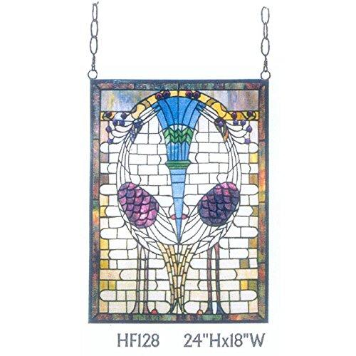 """TFN Factory Glass Panel HF-128 ländlichen Vintage Tiffany Stil befleckt Kirche Kunst Glas dekorative Rechteck Fenster hängen Glasscheibe Suncatcher, 24""""Hx18 W"""