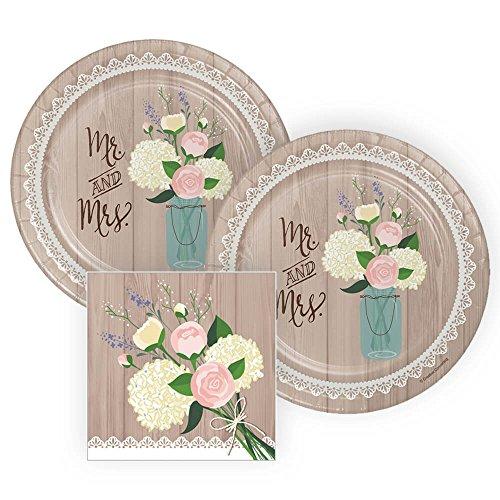 Platos rústicos y servilletas de papel para novia, 16 porciones, 3 unidades
