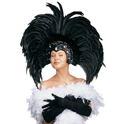 NET TOYS Grand Masque A Plumes Vénitien Colombine Masque Rio Noir Samba Plume Bijou de Cheveux Coiffe Brésilien Masque de Bal Carnaval Danseuse Loup Venise Bal Masqué Accessoire