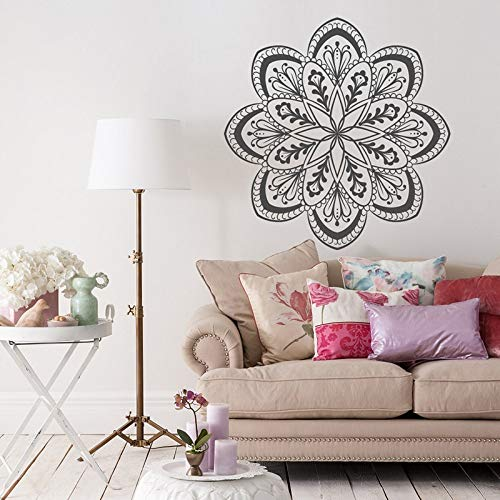 Flor Mandala vinilo pared calcomanía-Mandala flor de loto pared arte calcomanía decoración Boho pared pegatina papel tapiz A3 42x42CM
