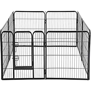 BestPet Dog Pen Extra Large Indoor Outdoor Dog Fence Playpen Heavy Duty 16/8 Panels 24 32 40 Inches Exercise Pen Dog Crate Cage Kennel (32″ W x 32″ H 8 Panles)