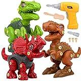 Dinosaurios Juguetes con Taladro Eléctrico, Juego Construccion Puzzle Dinosaurios Incluyen Tiranosaurio Rex, Velociraptor y Triceratops para Niños y Niñas 3 Años