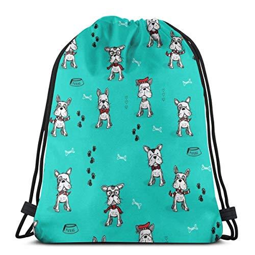 Aqua Frenchys 3D Print Drawstring Backpack Rucksack Shoulder Bags Sports Gym Bag For Adult 16.9'X14'inches