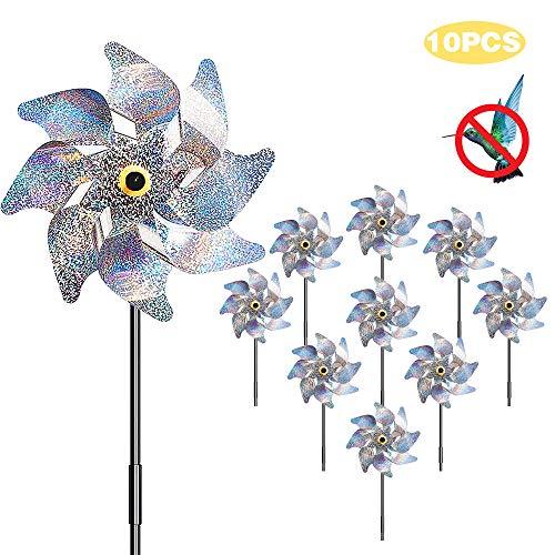 munloo 10 Stücke Windräder Vogelabwehr, Vogelabweisende Reflektierende Windmühle Anti-Vögel to Protect Garten,Obstgarten,Hof (Silber)