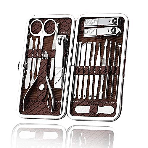 Nagelknipser Set für dicke Nägel Edelstahl Maniküre & Pediküre Set 18tlg. Reise-Pflegeset mit Etui für Männer Frauen (braun)