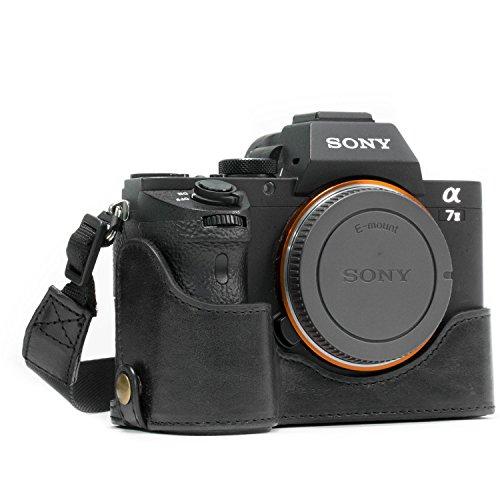MegaGear MG1129 para Sony Alpha A7S II, A7R II, A7 II Estuche Ever Ready, Media Funda, Estuche de Base, Funda de Pronto Uso de Cuero auténtico, con Correa, Negro