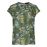 Taifun Damen Blusenshirt mit Floral-Print figurumspielend Botanical Green Gemustert 42