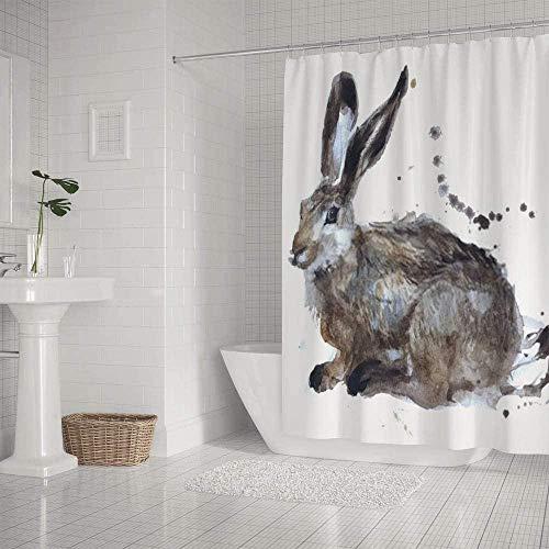 QAZX Badezimmer Duschvorhang wasserdicht Aquarell Kaninchen Hase 180x180cm