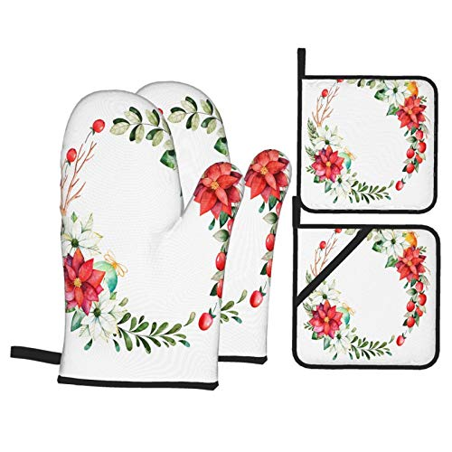 Badinton Oven Mitts and Pot holders 4pcs Set,Christmas New Year Collection Bright Wreath Heat Resistant Cooking Gloves for Kitchen,Baking,Grilling