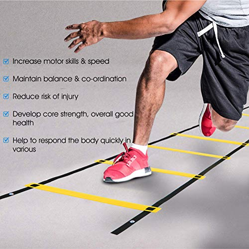Yes4All Agility Ladder – Speed Agility Training Ladder with Carry Bag – 12 Rung (Yellow)
