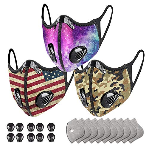 Reusable Fashionable Printed Pattern Face Bandanas with Breathing Valve & Filters (3PC + 10 Valves + 10 Filters)