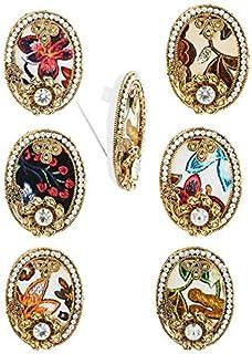 Anuradha Art Golden Finish Oval Shape Studded Stone Trendy Combo Saree Pin For Women