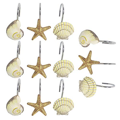 Festnight Duschvorhanghaken Shell Conch Star Dekorative Bad Vorhänge Haken Ringe Rostfrei Metall Bad Vorhänge Haken für Duschstangen