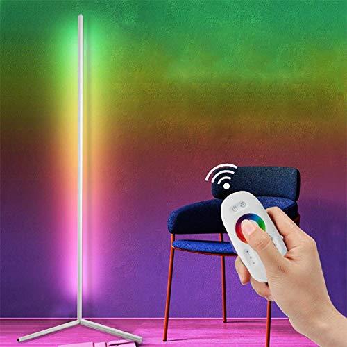 WLGQ Lámpara de pie de Esquina LED RGB Regulable Luces de pie de Colores Lámpara Minimalista estándar Iluminación de decoración del hogar con Control Remoto para Restaurante Dormitorio Decoración